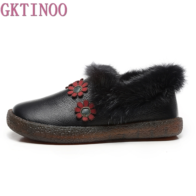 GKTINOO Winter Women Loafers Shoes Warm Soft Women Flats Winter Real Rabbit Fur Slip-on Ladies Genuine Leather Shoes Woman jingkubu 2017 autumn winter women ballet flats simple sewing warm fur comfort cotton shoes woman loafers slip on size 35 40 w329