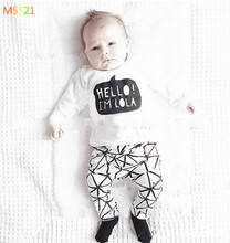 2016 summer baby girl's clothes cotton long-sleeved T-shirt + pants two suit baby clothes newborn infant clothing set children