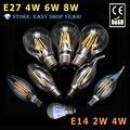 E14 E12 2/4 W E27 4/6/8 W Blanco Caliente Retro Filamento Bombilla LED Vela Punto de luz de La Lámpara 220 V 110 V
