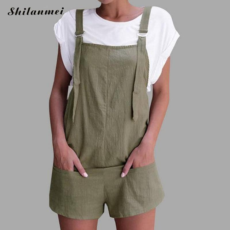 2018 New Summer Rompers Womens Jumpsuits Khaki Casual Pockets Loose Short Playsuits Green Strap Backless Ladies Overalls Shorts
