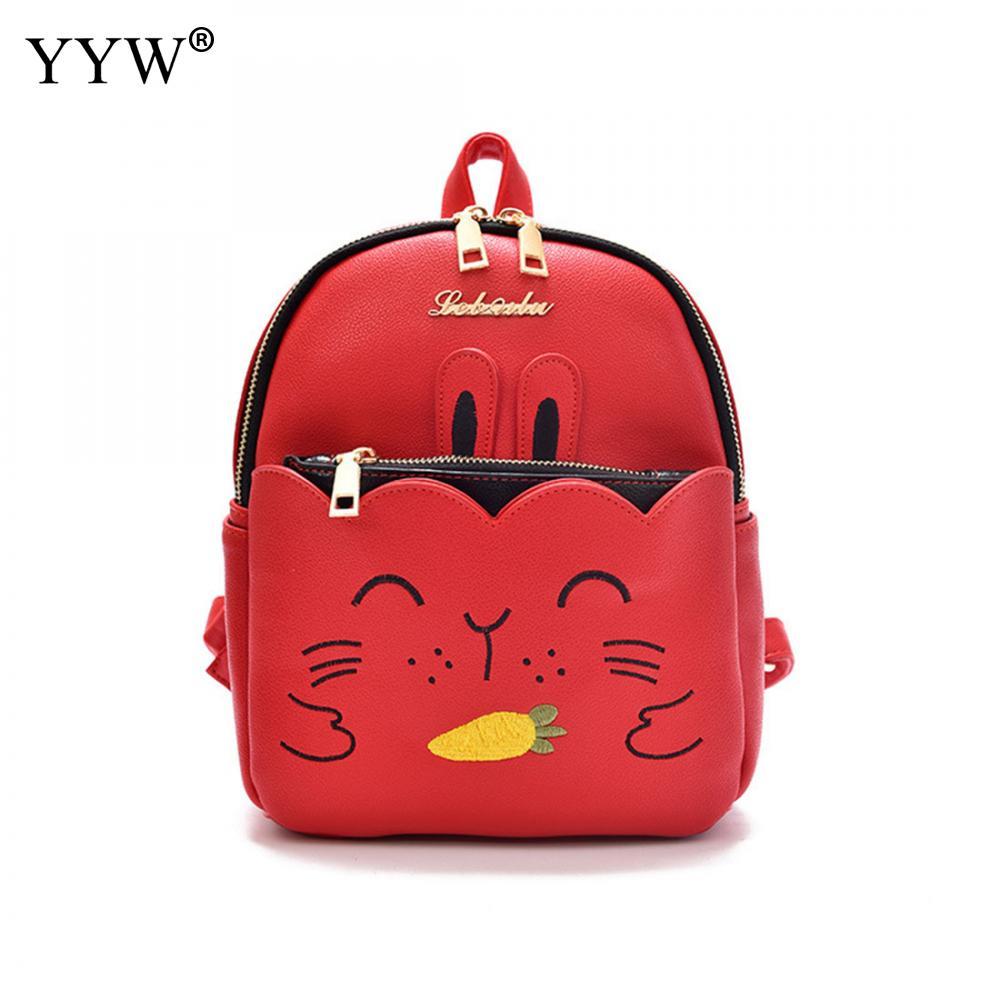 High Quality Women Mini Red Backpack Female Pu Leather Black Bag Stylish Back Pack Backpacks For Teenagers Girls School Bags