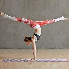 Oyoo Король обезьян китайские papercuts с принтом штаны для йоги Высокая талия эластичные леггинсы для фитнеса стильный красный тренировки бег брюки