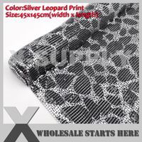 DHL Free Shipping Aluminum Metal Fabric Mesh 3mm Silver Leopard Print without Glue/For Bag,Shoe,Jeans,Decoration,Wedding