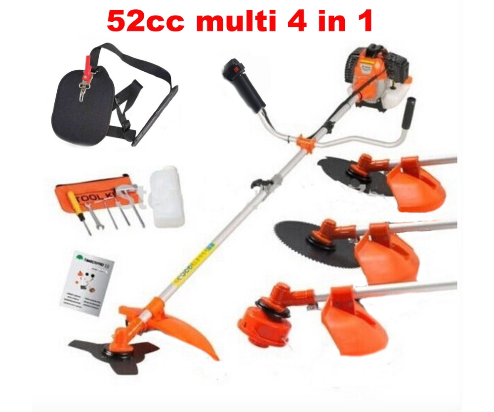 Multi poderoso 52cc cortador de escova da gasolina 4 em 1 strimmer aparador de grama cortador de jardim ferramenta de trabalho manual