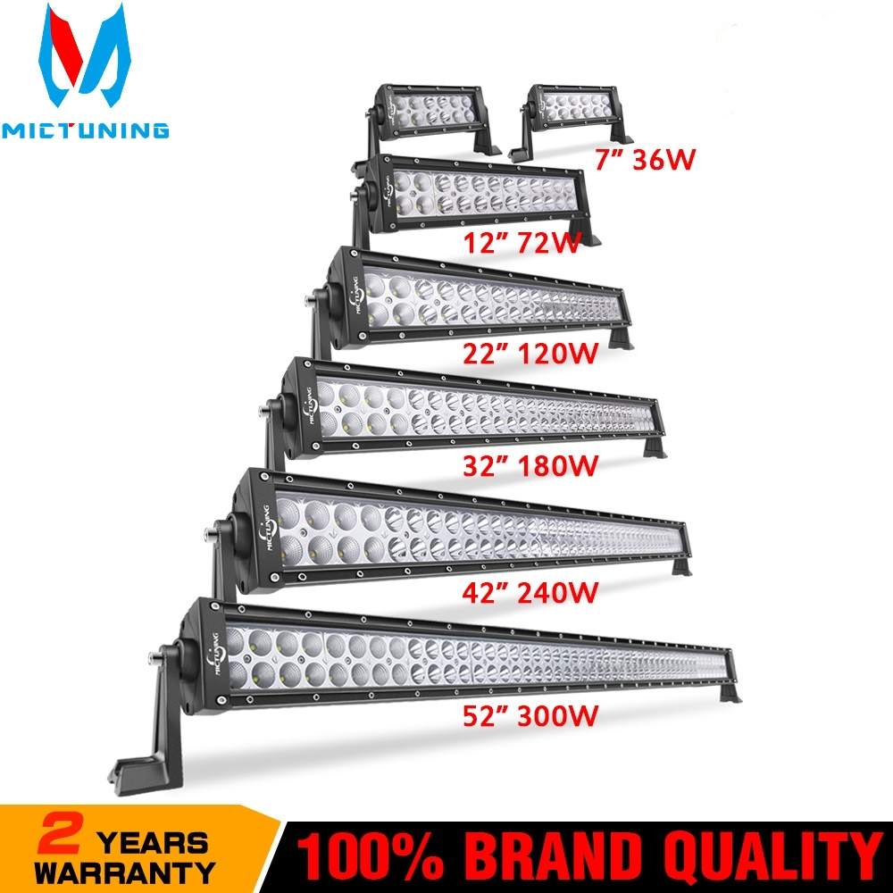 """MICTUNING 7"""" 12""""22""""32""""42""""52"""" inch Dual Row Straight Combo Led Work Light Bar 36W 72W 120W 180W 240W 300W Offroad Led Light Bar"""
