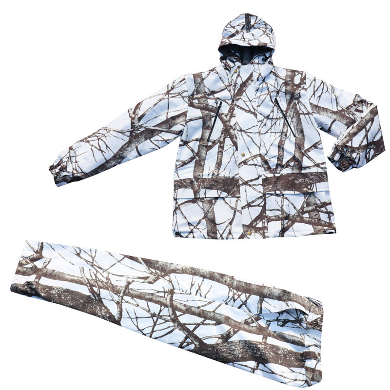 Winter Cold Weather Thicken Lining Fleece White Snow Bionic Camouflage Hunting Tactical Fishing Clothing Ghillie Suit