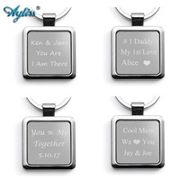 Ayliss New Arrival 1 pc Free Engraving - Personalized Custom Alloy Blank Dog Tag Pendant Keychain Key Ring for Men Women Gifts