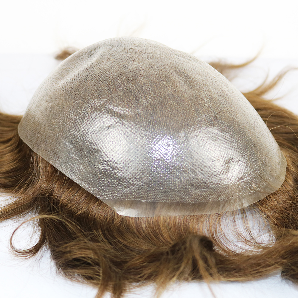 Eversilky Transparent Super Thin Skin Non-surgical Men Remy Hair System 0.06mm Skin Toupee Hair Replacement System Men's Wig