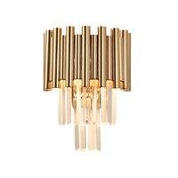 luxury gold wall lamp modern crystal sconce AC110V 240V Kristall Wandleuchte living room bedroom LED lights
