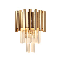 luxury gold wall lamp modern crystal sconce AC110V 240V Kristall Wandleuchte living room bedroom LED lights