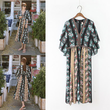 Bohemian Women V Neck Tropical Floral Print Dresses Embroidery Patchwork Empire Holiday Long Dress Maxi Chiffon Vestiods Casual