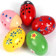 2017 New easter Egg Wooden egg Baby Toys Instrument Orff teaching AIDS Percussion Colorful easter egg decoration party supplies