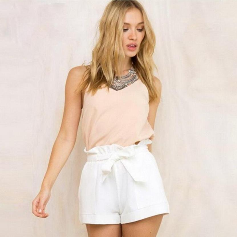 Feitong Women Casual Design High Waist Loose Fashionable   Shorts   Female With Belt Polyester Elastic Waist for girls hot sale