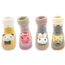 Winter Warm Non-slip Baby Socks with Rubber Soles Cotton Cartoon Animal Baby Boys Girls Toddler Floor Sock Shoes for Little Ones cotton baby boys girls socks rubber slip resistant floor socks cartoon infant kids animal socks winter autumn thicken warm shoes