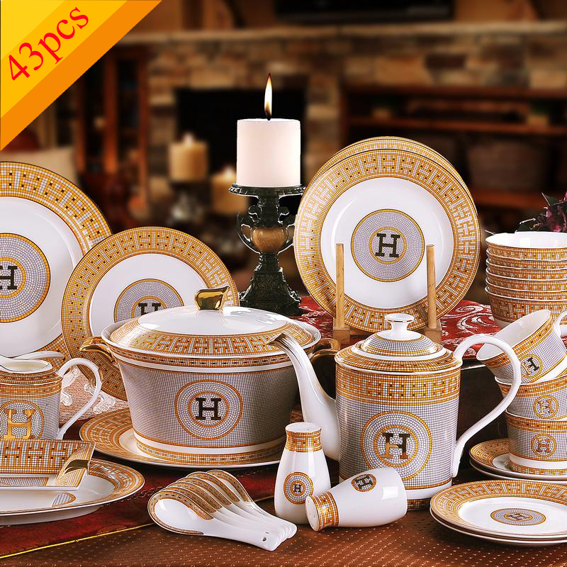 Porcelain Dinnerware Set Bone China Quot H Quot Mark Mosaic Design