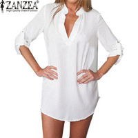 Summer Vestidos Women Shirt Dress Plus Size 3XL 2015 Brand New V Neck Pocket Casual Long