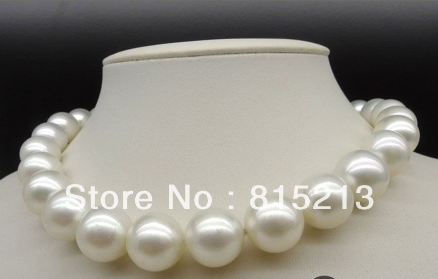 Women Gift word Love real 11-12mm Very Large Natural White Pearls Necklace  silver-jewelry