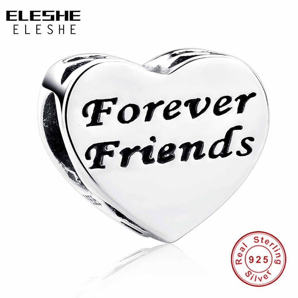 תמונה מותאמת אישית 925 סטרלינג כסף לנצח חברים קסמי Fit מקורי פנדורה צמיד עם ברור CZ לב חרוזים תכשיטי ביצוע