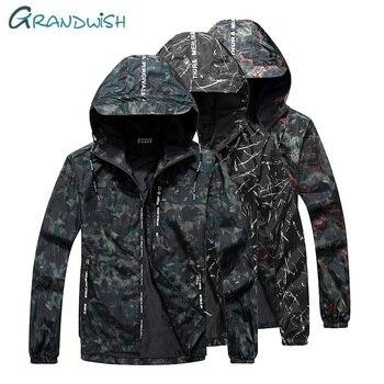 Plus Size Bomberjacken | Grandwish Männer Kapuzen Jacken Männer Hip Hop Slim Fit Camouflage Pilot Bomber Jacke Mantel Plus Größe 9XL Männer Outwear Kleidung, ZA116