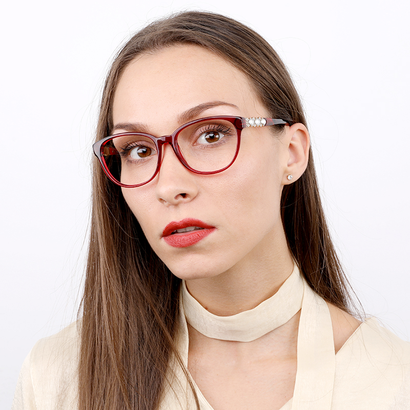 Kirka Red Color with Crystal Round Glasses Frame Women Fashion Glasses Eyeglasses Frame Women Computer Glasses Frames in Women 39 s Eyewear Frames from Apparel Accessories