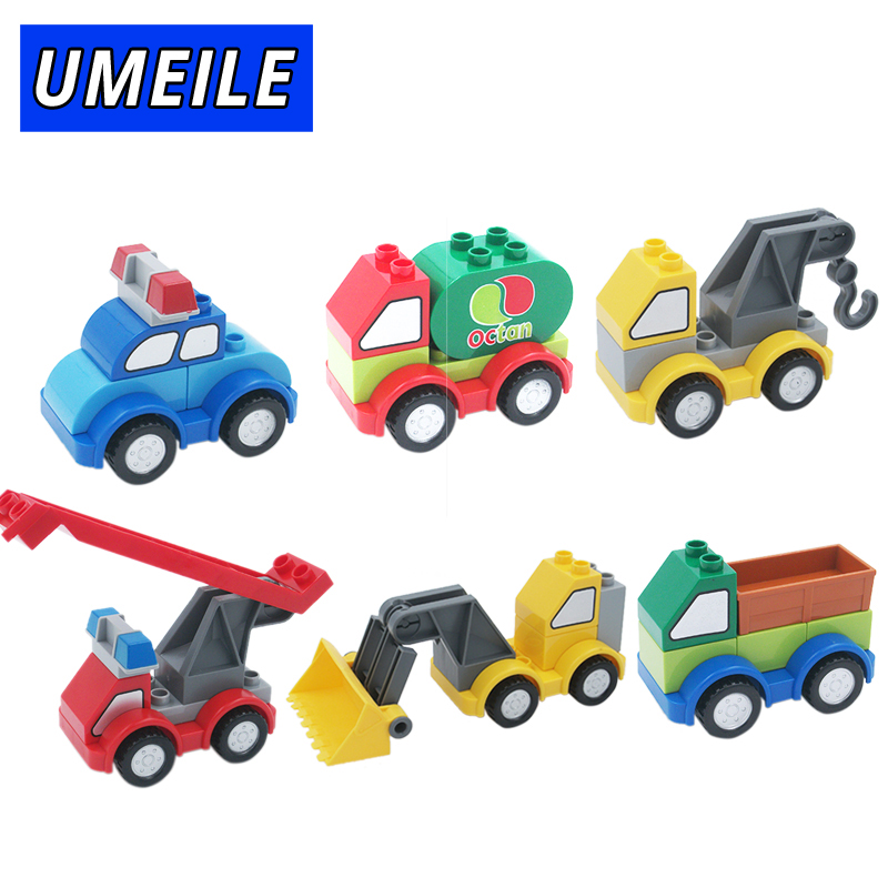 UMEILE Brand Original Ladder Truck Crane Shovel Tanker Freight Car City Large Building Blocks Baby Toys Compatible with Duplo umeile original classic city engineering ladder truck fire engine model car block kids educational toys compatible with duplo