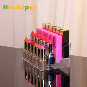 Houkiper 24 Grid Acrylic Lipstick Transparent Jewelry Storage Box Makeup Case Organizer Holder Cosmetics Brush Display Stand