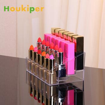 Houkiper 24 siatka akrylowa szminka przezroczysta Biżuteria schowek pudełko makijaż Case Organizator Holder kosmetyki szczotka wyświetlacz stojak tanie i dobre opinie W Houkiper Plastikowe