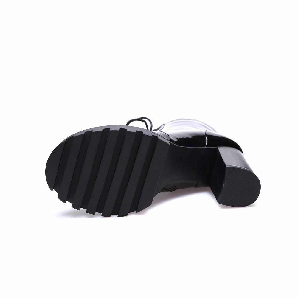 Plate Cuir attaché De Mode Femme 2017 Nouveau Matines En Haute Croix Pour Style Hiver Talons Furtado Arden forme Cheville Véritable Black Bottes SHvqXa