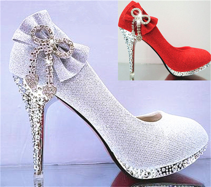 Wedding Bridal Women Autumn Prom Bowtie Heart Crystal Gold Silver Pink Red 3 inch Thin High Heels Stiletto Pumps China Shoes F38 autumn women s round toe party banquet crystal satin bridal shoes 10 0cm high heels wedding bowtie pumps stilettos jyg026