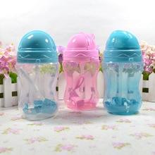 330ml Baby Kids Cute Cup Children Learn Feeding Drinking Water Straw Handle Bottle School Drinking Bottle