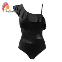 Andzhelika Sexy One Piece Swimsuit Women Swimwear One Shoulder Swimwear Ruffle Mesh Bodysuits Beach Swim Suit
