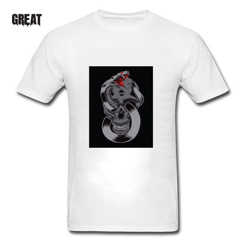 New fashionable short-sleeved cotton T-shirt, punk color skull print T-shirt, man's shirt, black and white, your T-shirt