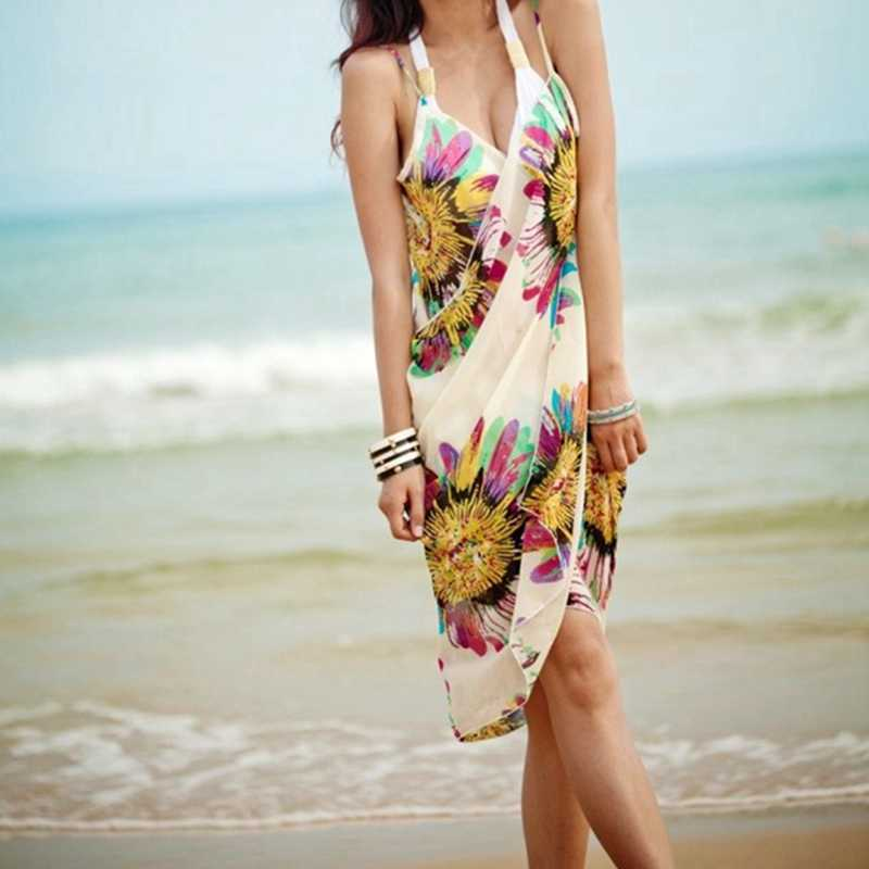 be088f3ca3 ... vertvie 2018 Sexy Women Bikini Cover Up Scarf Chiffon Beach Wear Swimwear  Cover-up Spaghetti