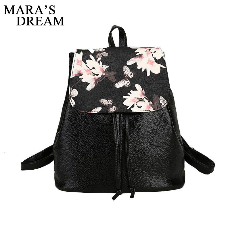 Mara's Dream Women Backpack Soft PU Leather Mochila Women Floral Black School Bags Printing Backpacks For Girls Backpack Female