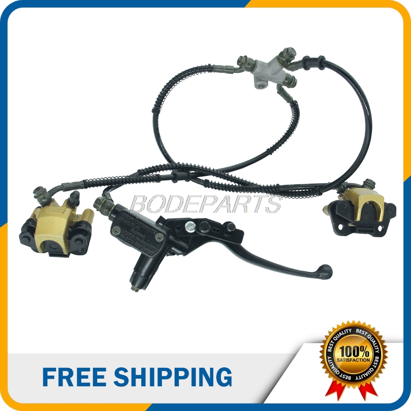 Motorcycle Parts Front Brake Assy With Two Brake Pads Hydraulic Cable For ATV Dirt Pit Bike Buggy Quad Bikes Free Shipping 150 200cc atv quad thumb throttle assy dual brake cable throttle cable
