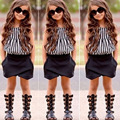 2017 New Children's Clothing Europe and The United States Girls Fashion Stripe Tops + Shorts Two-piece Child Suit Free Shipping