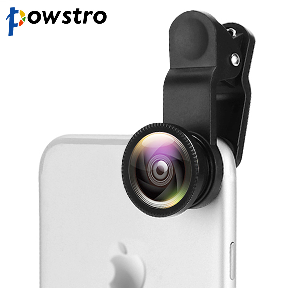 Powstro Mobile-Phone-Lenses Lentes Lens-Camera Fish-Eye Macro Wide-Angle Universal Android title=