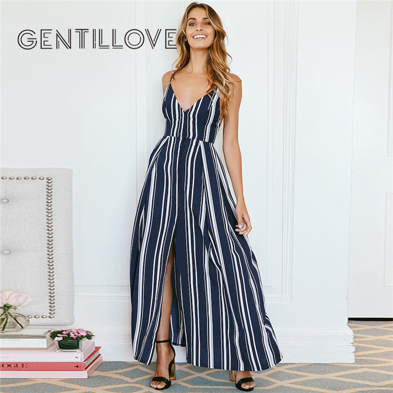 Women Sexy Summer Dress Lace Up Backless Striped Sleeveless Long Dress Beach Style Strap Sundress Vestidos for Female 2019