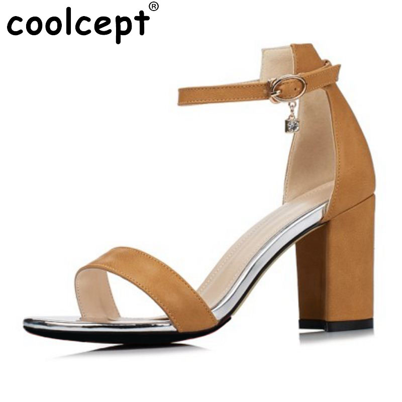 Coolcept Elegant Women High Heel Sandals Open Toe Ankle Strap Square Heel Sandals Summer Club Shoes Women Footwear Size 34-40 hzxinlive elegant summer sandals women high heel wedges shoes woman round toe roman sandals ladies footwear female casual shoes