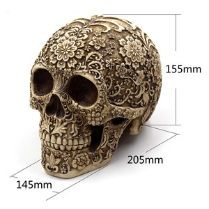 Image 3 - BUF Resin Crafts Retro Skull Sculptures Home Decoration Ornaments Creative Art Carving Statue
