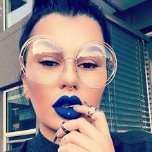 Marca designer óculos de tamanho grande quadro retro vintage lente clara óculos ópticos grande redondo óculos de grau feminino