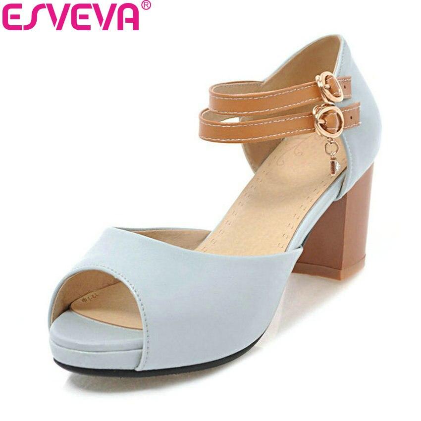 ESVEVA 2018 Buckle Strap Women Sandals Summer PU Square Heel Sandals Elegant High Heels Peep Toe Platform Shoes Women Size 34-43 цена