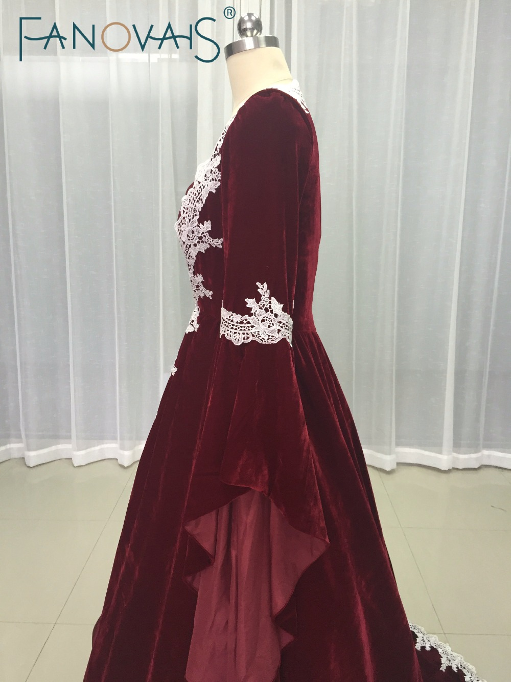 Burgundy Wedding Dresses With Lace Appliques Indian Bridal Gowns Long Sleeves Velvet Princess Dress For Two Pieces 2017 In From