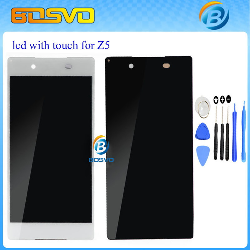 ФОТО 1 piece display with touch digitizer for Sony for Xperia Z5 lcd screen E6603 E6633 E6653 E6683 black white free shipping + tools
