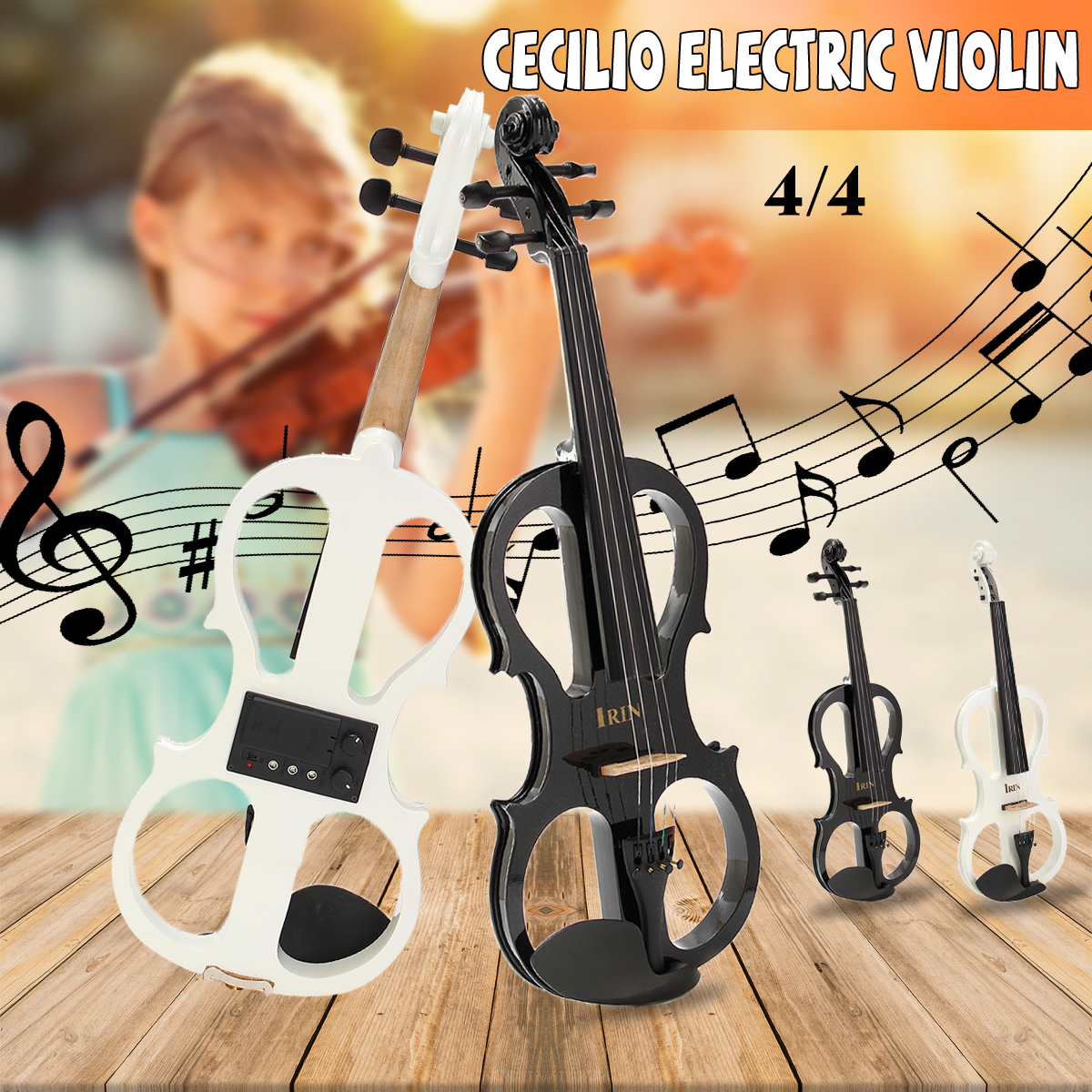 New Arrival Musical Instruments 4/4 Maple Electric Violin Silent Wood Full Size with Ebony Fittings Cable Headphone & Case Hot kinglos advanced electric art full size violin white & black solid wood silent violin 4 4 ebony fittings w parts dsg 1802