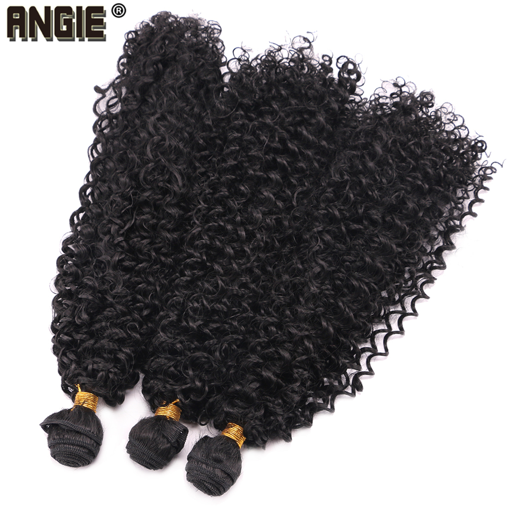 Black Color high temperature Synthetic Hair Extensions Afro Kinky Curly Hair Bundles 16-30 inch Long Weaving