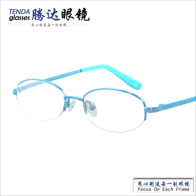 branded name fashion design cheap colourful half rim memory alloy eyewear for kidswith prescription