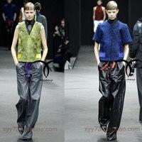 Модные стильные высококачественные широкие повседневные свободные брюки из овечьей кожи в Звездном стиле повседневные широкие прямые брю