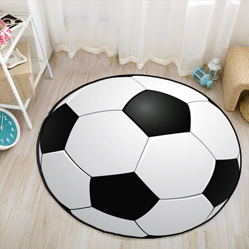 60/80CM Ball Print Round Carpet Football Basketball Living Room Children Kids Bedroom Chair Rug Toilet Bath Mat Decorate Carpet image