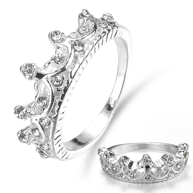 1Pc Classic Rhinestone Crown Ring Princess Ring  Engagement Wedding New US Size 6 7 8 9 10
